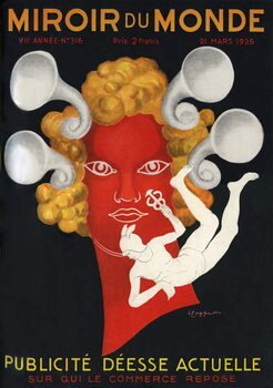 "Allegory of the Advertising """" Current Goddess on whom commerce rests"""", with Mercury, god of travellers and commerce. Cover of Mirror du monde magazine n°316, March 21, 1936. Illustration by Leonetto Cappiello . Canvas Print"