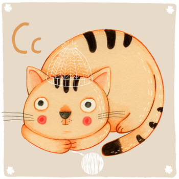 Canvas Print Alphabet - Cat