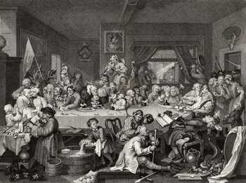 An Election Entertainment, engraved by T.E. Nicholson, from 'The Works of William Hogarth', published 1833 Canvas Print