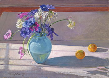 Canvas Print Anemones and a Blue Glass Vase, 1994