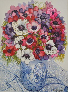 Anemones in a Blue and White Pot, with Blue and White Textile, 2000, Canvas Print