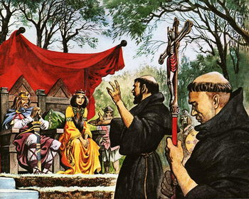 Augustine preaches to King Ethelbert Canvas Print