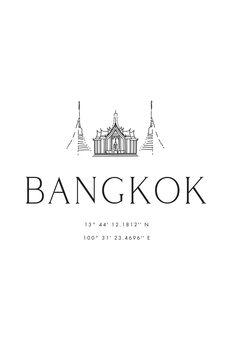 Canvas Print Bangkok coordinates with temple