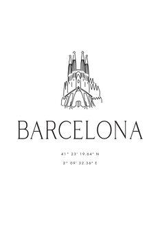 Canvas Print Barcelona coordinates with Sagrada Familia temple