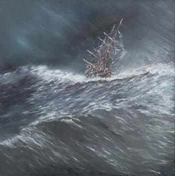 Beagle in a storm off Cape Horn (2) Dec.24th1832, 2014, Canvas Print