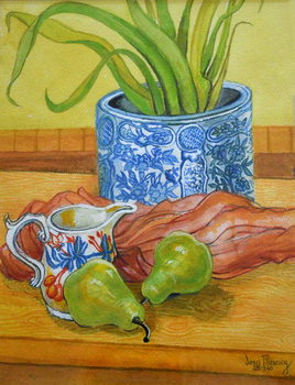 Blue and White Pot, Jug and Pears, 2006 Canvas Print
