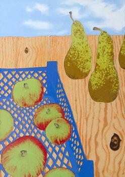 Blue basket of Apples, 2008, Canvas Print