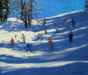 Blue shadows, Morzine Canvas Print