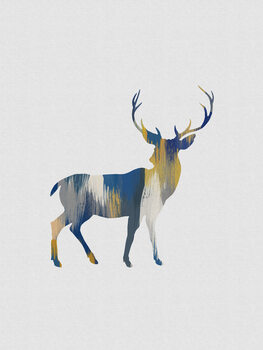 Canvas Print Blue & Yellow Deer