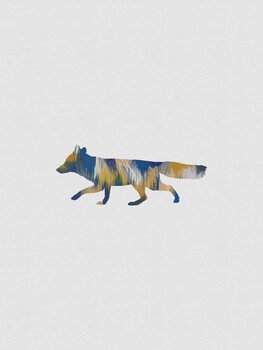 Canvas Print Blue & Yellow Fox
