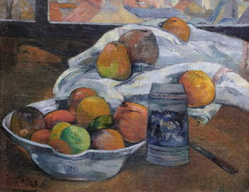 Canvas Print Bowl of Fruit and Tankard before a Window