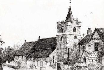 Brighstone Church I.O.W., 2008, Canvas Print
