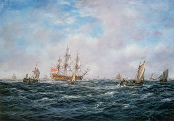 British Man-o-War and Other Craft, c.1740 Canvas Print