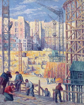 Building Site in Paris, quai de Passy, 1907 Canvas Print