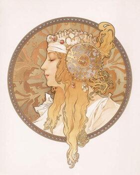 Canvas Print Byzantine head of a blond maiden; Tete byzantine d'une femme blonde