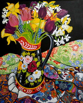 Canal Boat Jug, Daffodils and Tulips,2005 Canvas Print