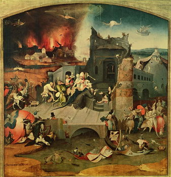 Central Panel of the Triptych of the Temptation of St. Anthony (oil on panel) Canvas Print