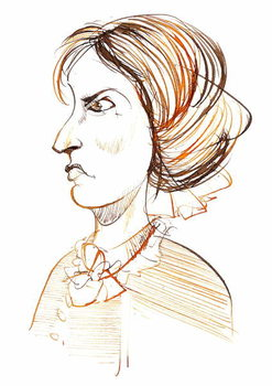 Charlotte Bronte - English novelist and poet ; caricature in profile Canvas Print