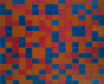 Checker board composition with dark colours, 1919, by Piet Mondrian . Netherlands, 20th century. Canvas Print