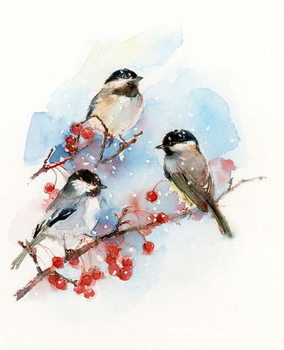 Chickadees with Berries, 2017, Canvas Print