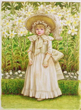 Child in a White Dress, c.1880 Canvas Print