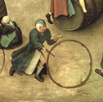 Children's Games (Kinderspiele): detail of a child with a stick and hoop, 1560 (oil on panel) Canvas Print