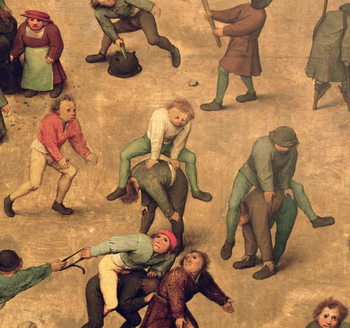 Children's Games (Kinderspiele): detail of children playing leap-frog, 1560 (oil on panel) Canvas Print