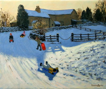 Children Sledging, Monyash, Derbyshire Canvas Print