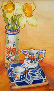 Chinese Vase with Daffodils, Pot and Jug,2014 Canvas Print