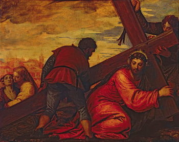 Christ Sinking under the Weight of the Cross Canvas Print