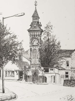 Clock Tower, Hay on Wye, 2007, Canvas Print