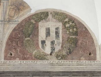 Coat of arms, detail of The Last Supper or Cenacolo, 1495-97 (tempera and oil on plaster) Canvas Print