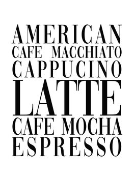 Canvas Print coffee list