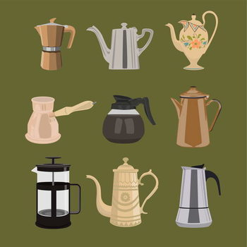 Coffee Pots Canvas Print