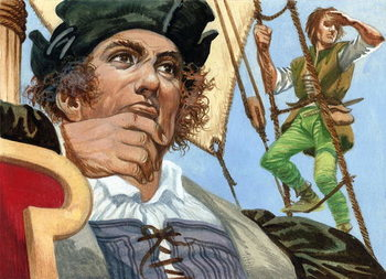 Cristopher Columbus seeing the New World Canvas Print