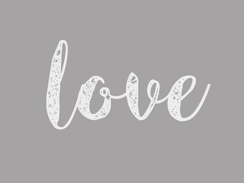 Cursive grey love Canvas Print