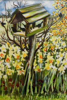Daffodils, and Birds in the Birdhouse, 2000, Canvas Print