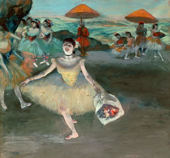 Dancer with bouquet, curtseying, 1877 Canvas Print