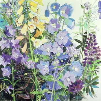 Canvas Print Delphiniums and Foxgloves