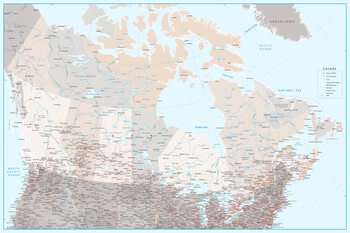 Canvas Print Detailed map of Canada with roads in blue and neutrals