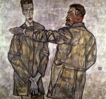 Double Portrait of Otto and Heinrich Benesch, 1913 Canvas Print