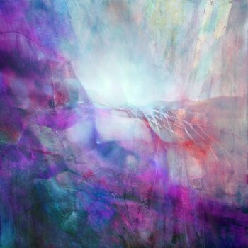 Canvas Print drifting - composition in purple and turquoise