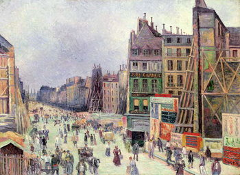Drilling in the rue Reaumur, 1896 Canvas Print