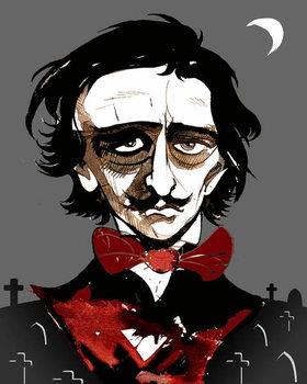 Edgar Allan Poe - colour caricature Canvas Print