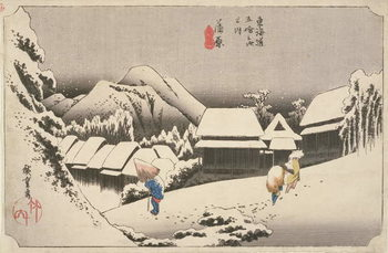 Evening Snow at Kambara, No.16 from 'The 53 Stations of the Tokaido', pub. by Hoeido, 1833, Canvas Print