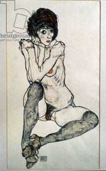 Female naked sitting. Drawing by Egon Schiele , 1914. Black chalk and watercolor on paper. Dim: 48,3x32cm. Vienna, Graphische Sammlung Albertina Canvas Print