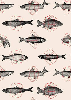 Canvas Print Fishes in Geometrics