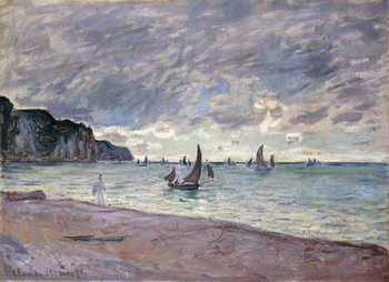 Canvas Print Fishing Boats in front of the Beach and Cliffs of Pourville