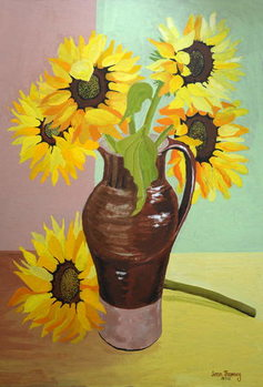 Five Sunflowers in a Tall Brown Jug,2007 Canvas Print