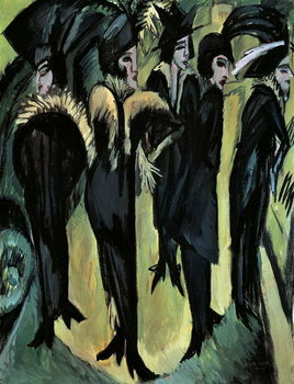 Five women on the street, by Ernst Ludwig Kirchner Canvas Print